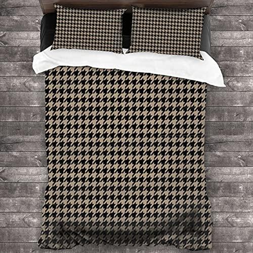 Juego de cama de 3 piezas de pata de gallo de color caqui y negro, funda de cama de 201 x 170 cm, súper suave y cálida, juego de cama Queen con 2 fundas de almohada