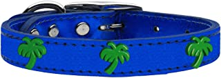 Mirage Pet Products 83-108 BLM10 Green Palm Tree Widget Genuine Metallic Leather Dog Collar, Size 10, Blue