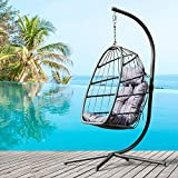 Swing Egg Chair with Stand Indoor Outdoor Patio Wicker Hanging Chair Aluminum Frame Swing Chair Patio Egg Chair with UV Resistant Cushion & Pillow- 350 lbs Weight Capacity (Grey)
