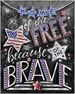 UPMALL DIY 5D Diamond Painting by Number Kits, Full Drill Crystal Rhinestone Embroidery Pictures Arts Craft for Home Wall Decoration American Flag Blackboard 9.84×11.8Inches