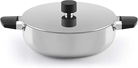 Castey B-R20 Trimetal Induction Shallow Casserole with Lid and Silicone Side Handle, 20 cm, Stainless Steel, Silver
