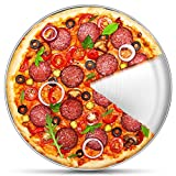 12 Inch Pizza Pan, P&P CHEF Stainless Steel Round Baking Tray Metal Serving Dish for Home, Restaurant, Outdoor, Non-toxic & Healthy, Oven Safe & Dishwasher Safe