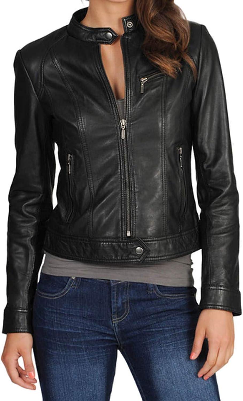 Women's Stylish Lambskin Genuine Leather Jacket WJ56