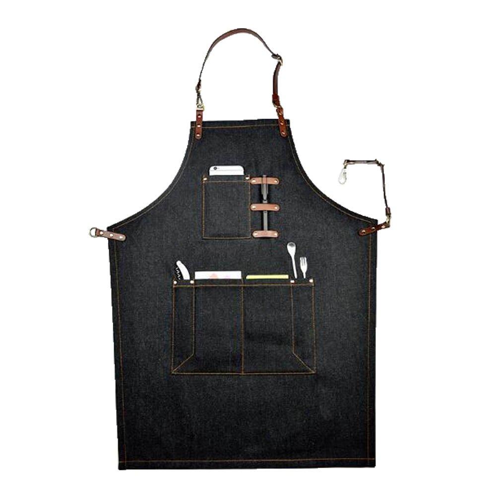Barber Vest in Black denim Jeans with Pockets and Straps
