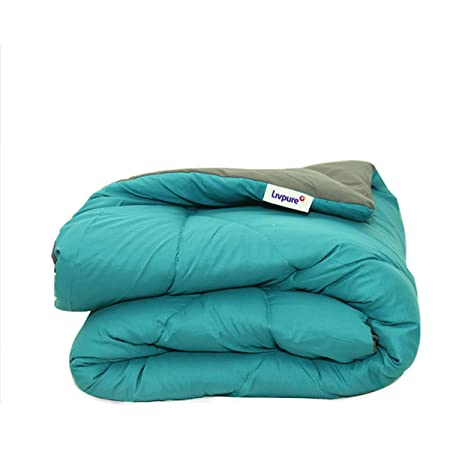 """Livpure Smart All Weather Comforter - Microfiber Filling, Reversible, Size Double 90"""" x 100"""" (Teal and Grey)"""