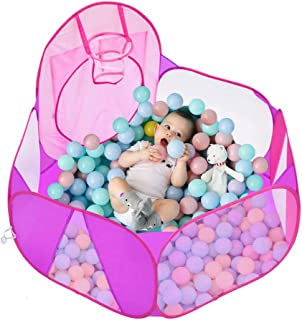 Eocol Kids Ball Pit Large Pop Up Childrens Ball Pits Tent for Toddlers Playhouse Baby Crawl Playpen with Basketball Hoop and Zipper Storage Bag, 4 Ft/120CM, Balls Not Included (Pink)