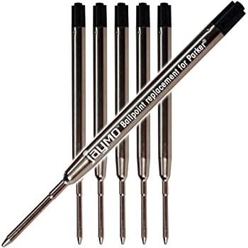 6 - Black Parker Compatible Ballpoint Pen Refills. Smooth Writing German Ink and 1mm Medium Tip. #1782467