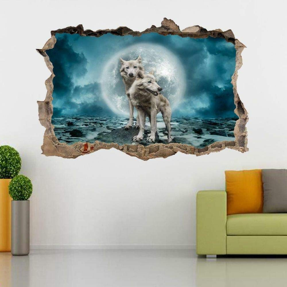 FHMYCSQ 3D Wall Sticker Stickers Smashed Wolf Ranking Superlatite TOP3
