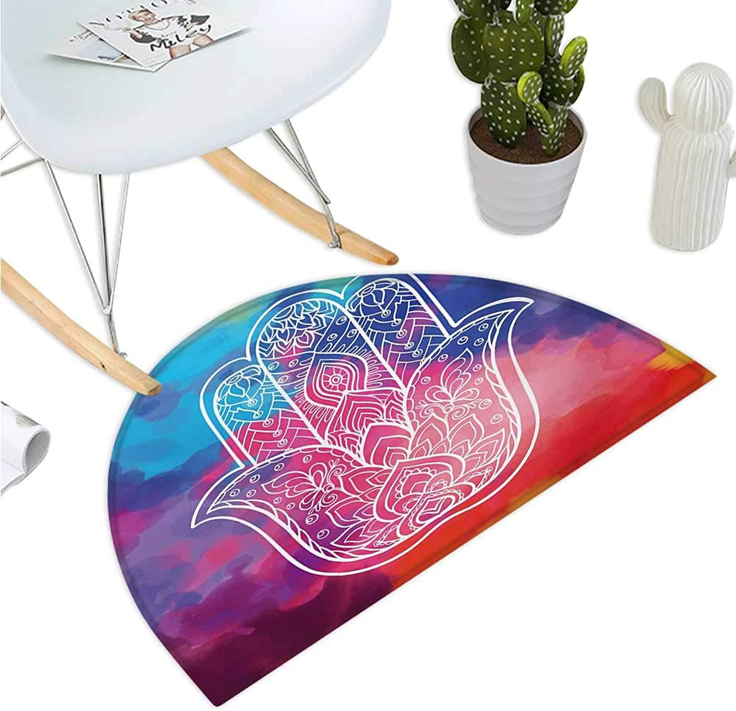 Hamsa Semicircular Cushion colorful Watercolor Background with Hand Drawn Eastern Mantra Figure Gentle Swirls Entry Door Mat H 35.4  xD 53.1  Multicolor
