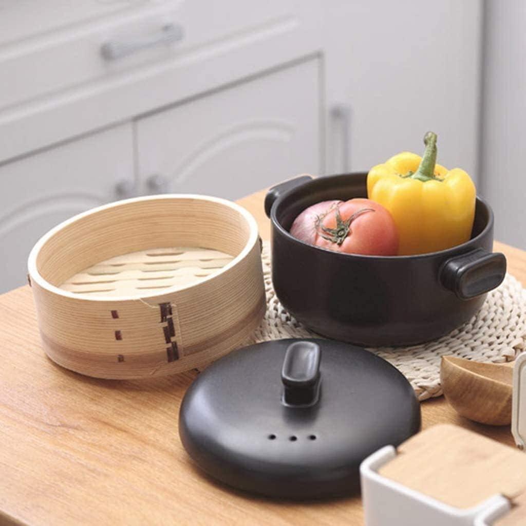 weiwei avec marmite à Vapeur en céramique Casserole à ragoût avec Couvercle Pot à Soupe Haute température et Grande capacité(Couleur:Bleu) Black