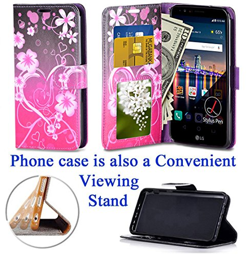 """for 5.7"""" LG Stylo 3 K10 PRO Stylus 3 + PLUS Case Phone Case Designed Wallet Grip Textured Kick stand Hybrid Pouch Pocket Purse Screen Flip Cover (Big Heart Pink)"""