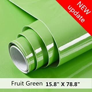 Fruit Green Contact Paper Self Adhesive Vinyl Film Decorative Peel and Stick Wallpaper for Cabinets Countertops Kitchen Furniture Smooth surface (15.8