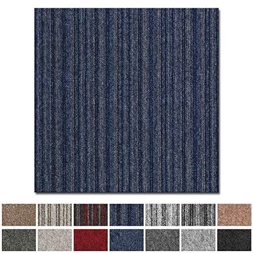 Teppichfliesen Vienna selbstliegend   Rücken: Bitumen, rutschhemmend   Strapazierfähig   Bodenbelag für Büro und Gewerbe   50x50 cm   Viele Farben (Blau Gestreift)