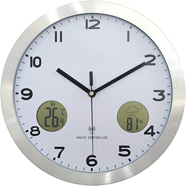ZhangXF Wall Clock 12 Inch Metal Multi Function Home Wall Clock LCD Liquid Crystal Display Indoor And Outdoor Temperature Weather Mute Wall Clock