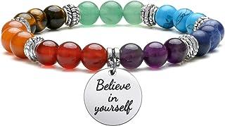 Jovivi 7 Chakras Gemstone Yoga Meditation Healing Balancing Round Stone Beads Stretch Bracelet with Tree of Life/Lotus/OM ...