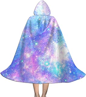 Halloween Costumes Glitters Rainbow Sky Lifelike Rooster Personalized Hooded Witch Wizard Cloak for Womens Mens Kids