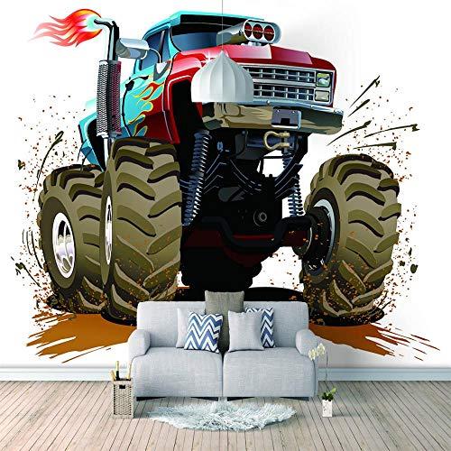 Papel pintado de la foto del PVC Coche de neumáticos grandes Papel pared Vinilo Papel Tapiz Autoadhesivo Muebles Pegajoso Volver Plástico Rollo personalizar Talla-157x118 inch(400x300cm)