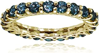 Ice Gems Sterling Silver London Blue Topaz 3mm Round-Cut Eternity Band Ring