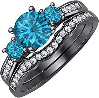 Engagement 3-Stone Round Cut Swiss Blue Topaz & CZ Diamond 14K Gold Over Sterling Silver Women's Curved Wedding Band Bridal Ring Set