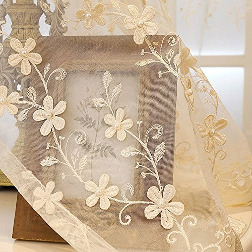 AliFish Rod Pocket Embroidered Pearls Sheer Curtains Home Decoration Living Room Foral Lace Window Curtain Drape Tulle Voile Panel Curtains for Bedroom 1 Panel 39 Inch Width by 63 Inch Length Beige