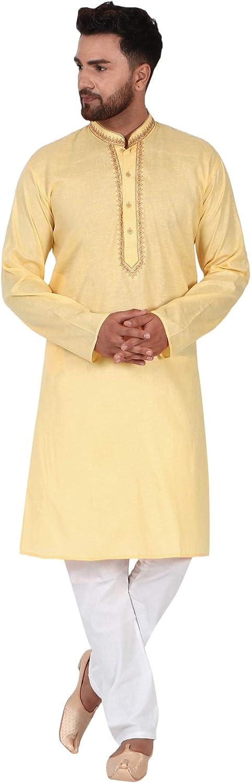 SKAVIJ Men's Tunic Cotton Kurta Pajama Set Casual Festive Season Dress Suit
