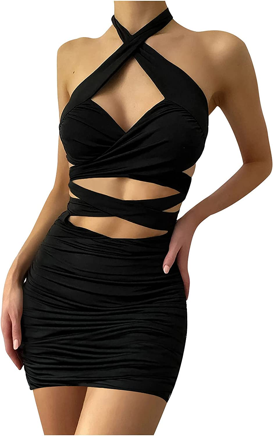 Women Halter Dress Backless Bodycon Mini Dress Criss Cross Hollow Out Y2k 90s Vintage Sexy Dress for Club Night Out
