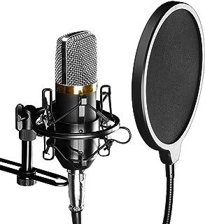 FAMKIT Filtro Pop de Micrófono para Cantar Grabación Canción Pantalla de Viento de Doble Capa Protector de Micrófono con C...