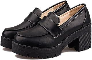 [Cnstone] 7cmヒール ローファー 厚底 ブラック 学生ローファー コスプレ靴 美脚 黒 赤 レッド コスプレローファー 学生靴 通学 入学 卒業 レディース メイド靴