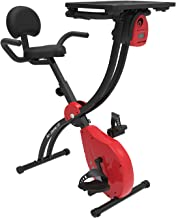 Murtisol 2 in 1 Removable Desk Exercise Bike with Backrest and Heart Rate Pulse Grips,Foldable Exercise Bikes Indoor Workstation,Bicycle Indoors Riding Workout Bike with Adjustable Seat(7-Levels),Red