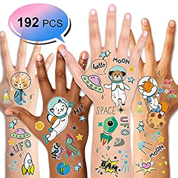 Outer Space tattoos  192PCS  Konsait Solar System Universe Space Explorer Temporary Tattoos Waterproof Body Stickers for Boys Girls NASA Birthday Party Favor Supplies Stockings Stuffers Goodie Bag