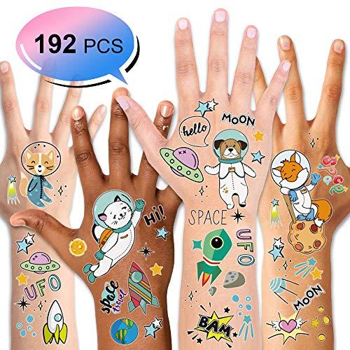 Konsait Kinder Tattoos Set, Sonnensystem Weltraum temporäre Tattoos Aufkleber für Kinder Spielen Mädchen Jungen Kindergeburtstag Mitgebsel, 16 Blatt