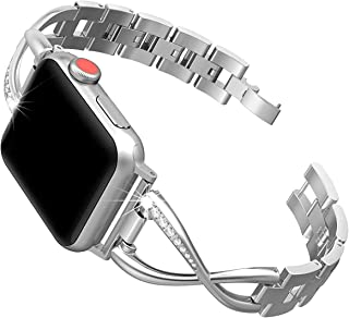 SWEES Stainless Steel Bands Compatible for Apple Watch Band 38mm 40mm Women, Dressy Design Bling Diamond Accessories Bracelet, Compatible for iwatch band Series 5, 4, 3, 2, 1, Sports & Edition, Silver