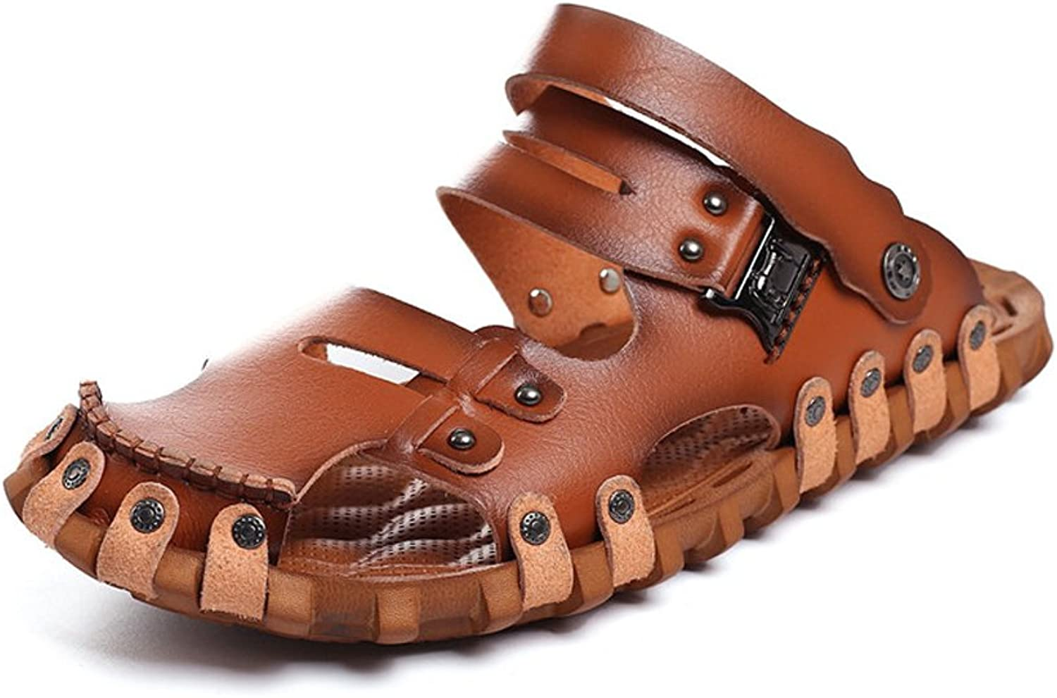 Mens Sandals, Men's shoes Leather Beach Flip Flops Slippers Non-Slip Soft Flat Casual Backless Sandals (color   Brown, Size   7.5MUS)