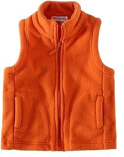 UWESPRING Boys Autumn And Winter Fleece Solid Vests 3T Orange
