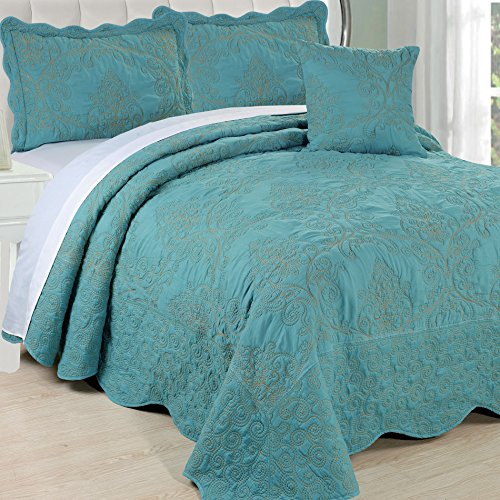Serenta Damask 5 Piece Embroidery Coverlet Set with Floral...