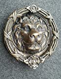 Antique Style Vintage Large Solid Brass Lion Head Door Knocker 8' Dia. #D3