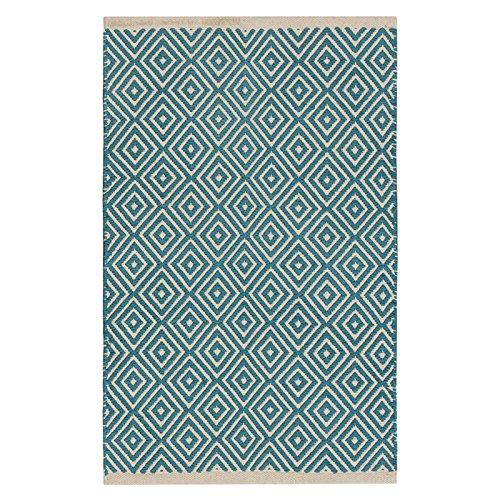 Commercio equo e solidale Diamond Weave 100% cotone Handloom tappeto con cucita finito bordo 60x 90cm, Cotone, Turquoise, 60 x 90cm
