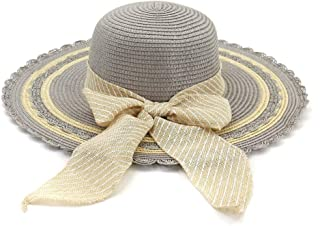 Lady's Sun hat Hat Women 2019 Jazz Hat Seaside Sunscreen Beach Wheat Hat Sun Hat Bow Stripes Fashion Visor Sun hat (Color : Gray, Size : 56-58CM)
