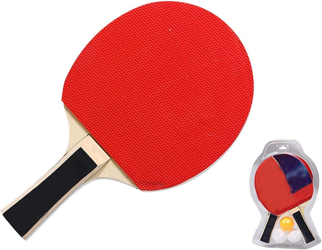 ODOKEI Pala Ping Pong Set Raquetas de Ping Pong Palas de Ping Pong 2 Paletas de Tenis de Mesa Profesionales 3 Pelotas de Ping Pong para Principiante Juego de Interior al Aire Libre