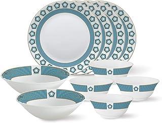 Larah by Borosil - Tiara Series, Crystal, 10 Pcs, Opalware Dinner Set, White