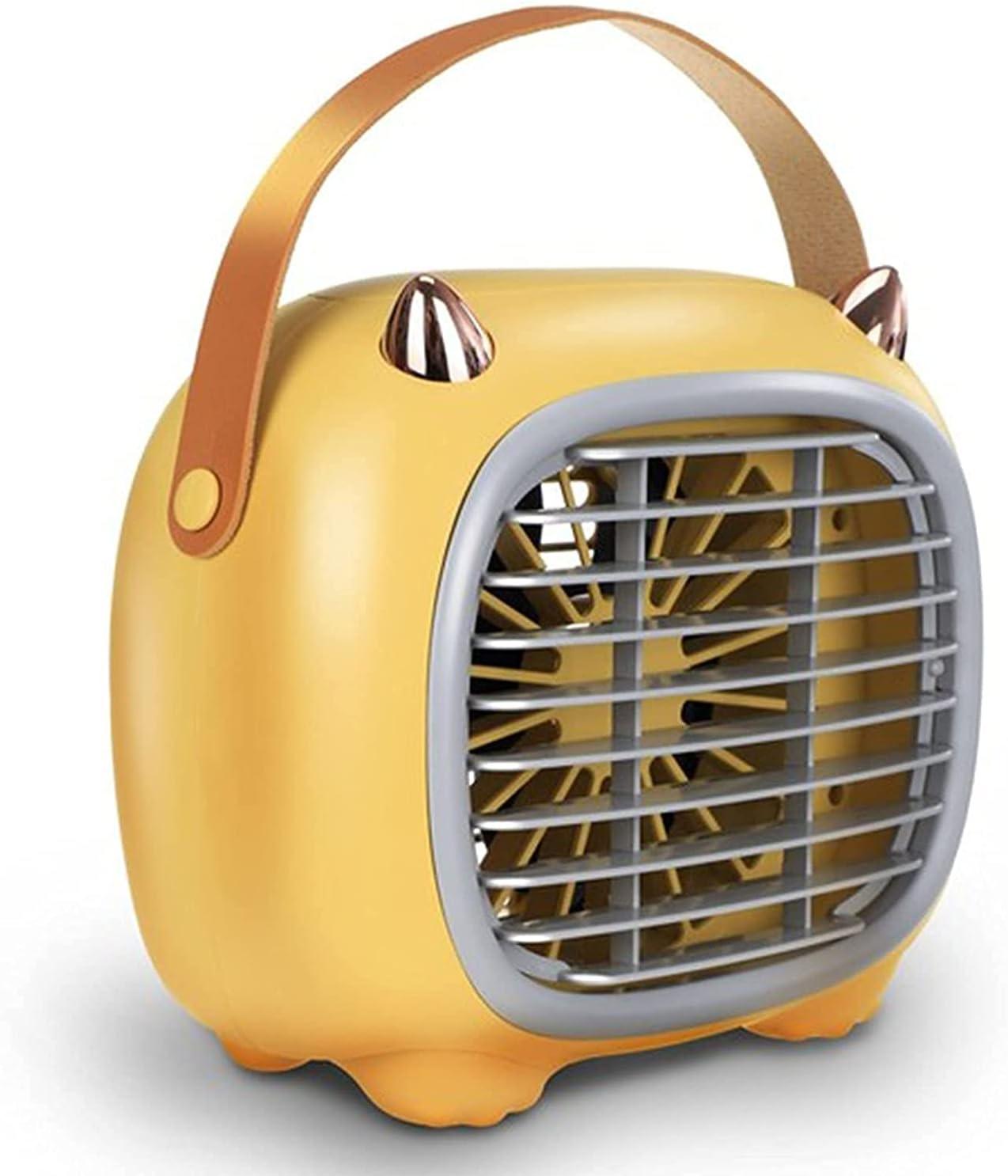 XJYDS Mini Aire Acondicionado Ventilador, Pequeño USB Cargado con 3 Velocidad de Ventilador, 7 LED Light Portable Air Cooler, Aire Acondicionado Móvil para Oficina en el Interior, Blanco, Verde