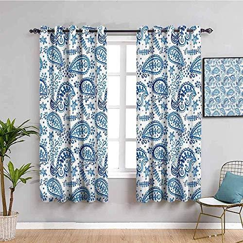 LucaSng Cortinas de Opacas - Azul Hojas Abstracto Arte - 280x245 cm - para Sala Cuarto Comedor Salon Cocina Habitación - 3D Impresión Digital con Ojales Aislamiento Térmico Cortinas