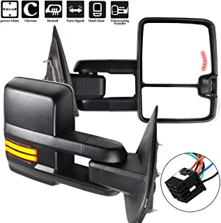 OCPTY Towing Mirrors with Power Heated Left Right Side Tow Mirrors Compatible with Chevy 2014-2018 GMC 2014-2018 with Running Lamp Reversing Lamp Black housing