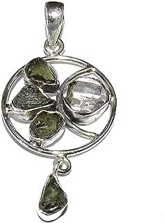 Moldavite and Herkimer Diamond Pendant Natural Gemstone High Vibration Crystal Energy MDP100