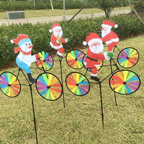 Vektenxi Großer Weihnachtsmann 3D auf Fahrrad-Windmühlen-Kinderspielwaren, Garten-Dekorations-Verzierungs-bunter Freienwind-Spinner, gelegentliche Farbe 1PC langlebig und praktisch