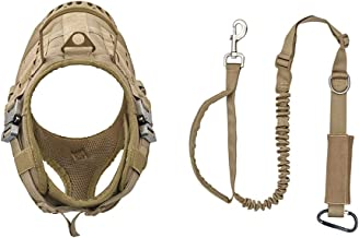VIVOI Tactical Dog Harness and Bungee Dog Leash Set, Adjustable K9 Military Dog Vest with Rubber Control Handle and Adjustable Dog Leash for Training