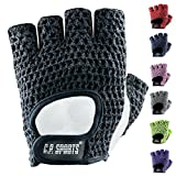 C.P.Sports Trainings Fitness Handschuh Klassik Trainingshandschuhe, Schwarz/Weiß, M/8 = 18-20cm