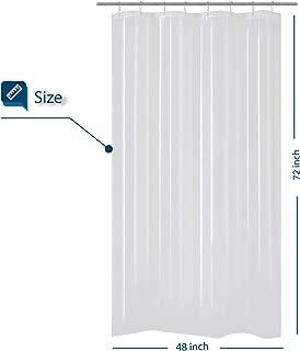Barossa Design 48 inch Wide Stall Shower Curtain PEVA, Waterproof, PVC Free, Metal Grommets, Clear, 48x72