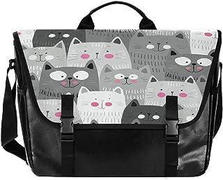 Bolso de lona para hombre y mujer, diseño de gato negro y gris