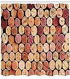 AdaCrazy Sélection aléatoire de Bouchons de vin usés Vintage qualité Gourmet Taste Liqueur Rideau de Douche en vin Tissu Salle de Bain Decor Ensemble avec Crochets Moutarde Marron